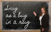 Teacher showing Snug as a bug in a rug on blackboard — Stok fotoğraf