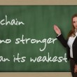 Teacher showing A chain is no stronger than its weakest link on — Stock Photo