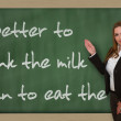 Teacher showing Better to drink the milk than to eat the cow on — Stock Photo