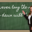 Stock Photo: Teacher showing However long night, dawn will break on
