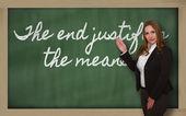 显示结束的老师在黑板上可以不择手段 — 图库照片