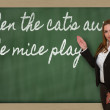 Teacher showing When the cat s away, the mice play on blackboard — Foto de Stock