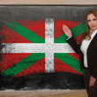 Teacher showing flag ofbasque on blackboard for presentation mar — Stock Photo