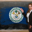 Teacher showing flag ofBelize on blackboard for presentation mar — Stock Photo #26143771