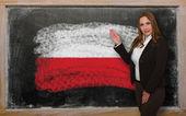 Teacher showing flag ofPoland on blackboard for presentation mar — Stock Photo