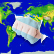 Fist in color  national flag of argentina    punching world map — ストック写真