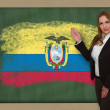 Teacher showing flag ofecuador on blackboard for presentation ma — Stock Photo