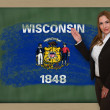 Teacher showing flag ofwisconsin on blackboard for presentation  — Stock Photo