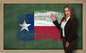 Teacher showing flag oftexas on blackboard for presentation mark — Stock Photo