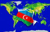 Pěst v barevné státní vlajka ázerbájdžánu děrování mapa světa — Stock fotografie