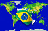 Fist in color national flag of brazil punching world map — Stock Photo