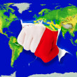 Fist in color  national flag of malta    punching world map — Stock Photo