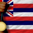 Gold medal for sport and flag of americstate of hawaii — Stock fotografie #27508429
