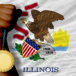 Gold medal for sport and flag of americstate of illinois — 图库照片 #27510125