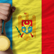 Gold medal for sport and national flag of moldova — 图库照片 #27521833