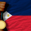 Gold medal for sport and national flag of philippines — Stok Fotoğraf #27534969