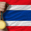 Gold medal for sport and national flag of thailand — Stock fotografie #27541823