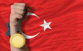 Złoty medal dla sportu i flagi narodowej Turcji — Zdjęcie stockowe