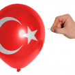Bursting balloon colored in  national flag of turkey — Stock Photo