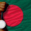 Silver medal for sport and national flag of bangladesh — Stock Photo