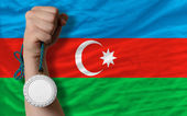 Silver medal for sport and national flag of azerbaijan — Stock Photo