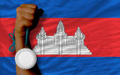 Silver medal for sport and national flag of cambodia — Fotografia Stock