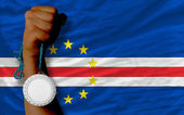 Silver medal for sport and national flag of of capeverde — Zdjęcie stockowe