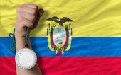 Silver medal for sport and national flag of ecuador — Stock Photo