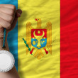 Silver medal for sport and  national flag of moldova — Foto Stock