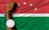Silver medal for sport and national flag of of maghreb — Stock Photo