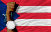 Silver medal for sport and national flag of puertorico — Stock Photo