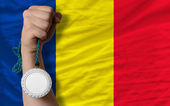 Silver medal for sport and national flag of romania — Stock Photo