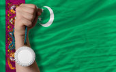 Silver medal for sport and national flag of turkmenistan — Stock Photo