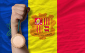 Bronze medal for sport and national flag of andorra — Stockfoto