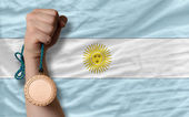 Bronze medal for sport and national flag of argentina — Stock Photo