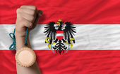 Bronze medal for sport and national flag of austria — Stock Photo