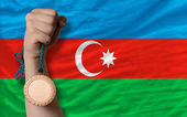 Bronze medal for sport and national flag of azerbaijan — Stock Photo