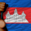 Bronze medal for sport and national flag of cambodia — Stock fotografie #28233627