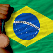 Bronze medal for sport and national flag of brazil — ストック写真 #28233643