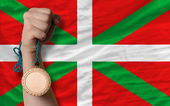 Bronze medal for sport and national flag of of basque — ストック写真
