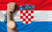 Bronze medal for sport and national flag of croatia — Stock Photo