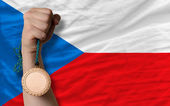 Bronze medal for sport and national flag of czech — Stock Photo