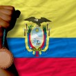 Bronze medal for sport and national flag of ecuador — Stockfoto #28240385