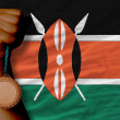 Bronze medal for sport and national flag of kenya — Stockfoto #28247847