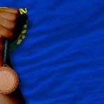 brązowy medal dla sportu i flagi z amerykańskiego stanu nevada — Zdjęcie stockowe