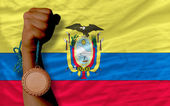 Bronze medal for sport and national flag of ecuador — Stock Photo