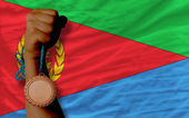 Bronze medal for sport and national flag of of eritrea — Stock Photo