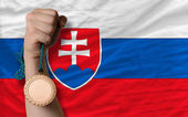 Bronze medal for sport and national flag of slovakia — Stock Photo
