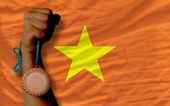 Bronze medal for sport and national flag of vietnam — Foto Stock