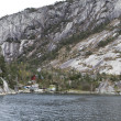 Landscape in norway - coastline in fjord - Stock Photo